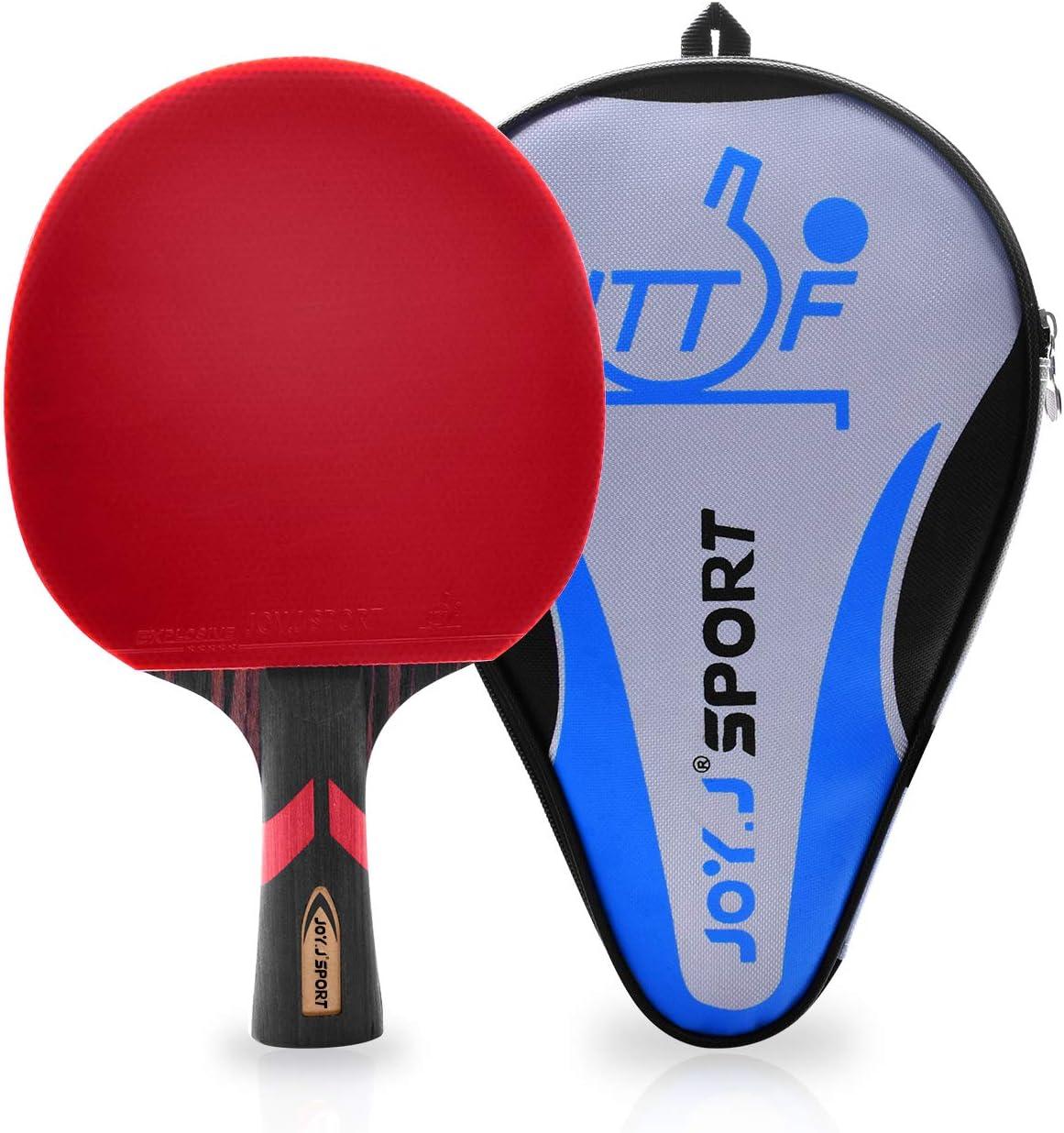 Joy.J Sport - Pala de tenis de mesa profesional, 9 capas, aprobado por la ITTF con bolsa de almacenamiento, perfecta para intermedio y avanzado