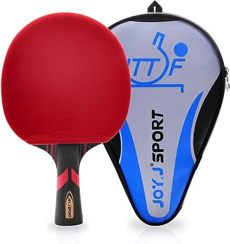 Joy.J, Racchetta da Ping Pong Professionale con Custodia, Racchetta TT con Gomma ITTF, Perfetta per Intermedio