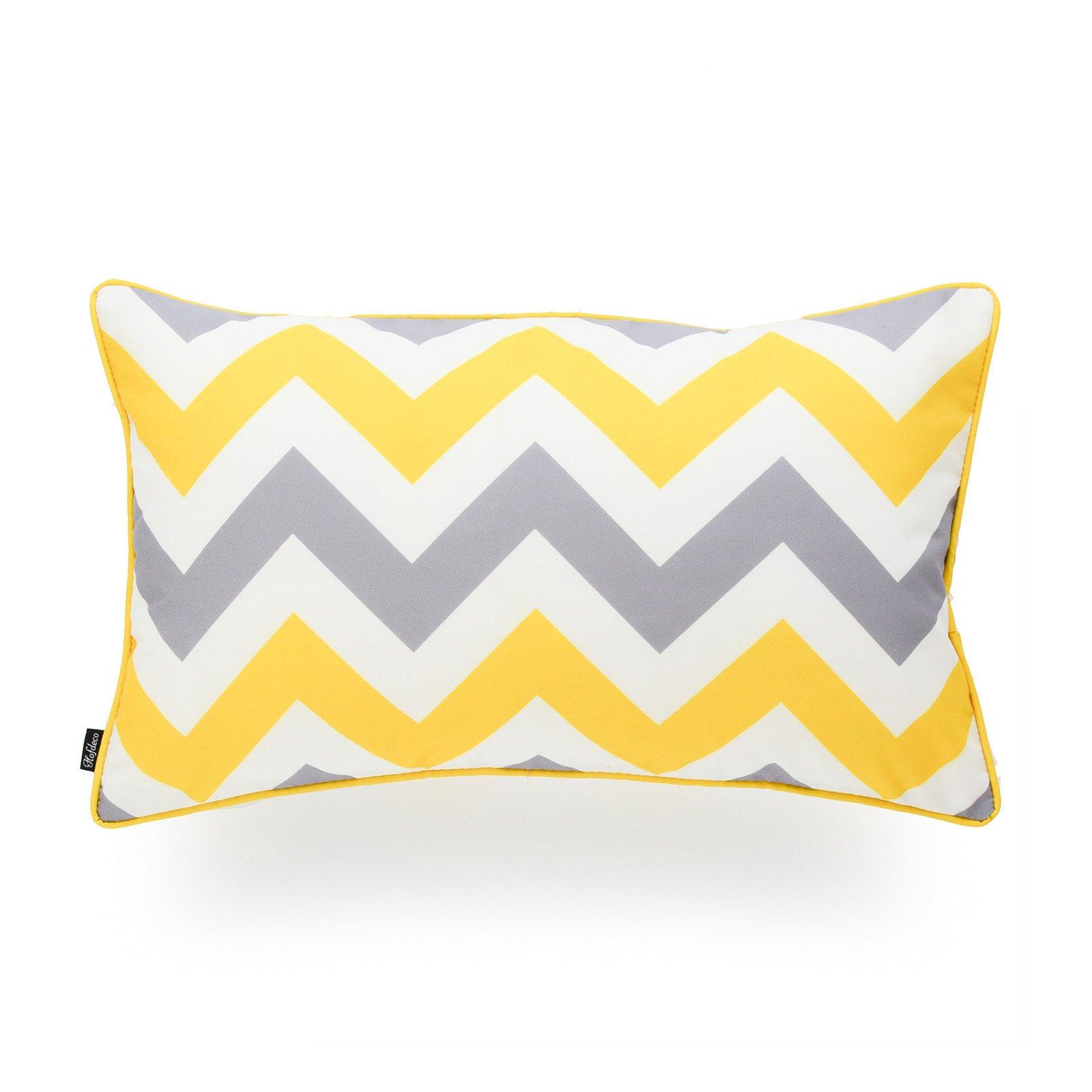 Hofdeco Decorative Lumbar Pillow Cover INDOOR OUTDOOR WATER RESISTANT Canvas Vivid Yellow Grey Zigzag Chevron 12''x20''