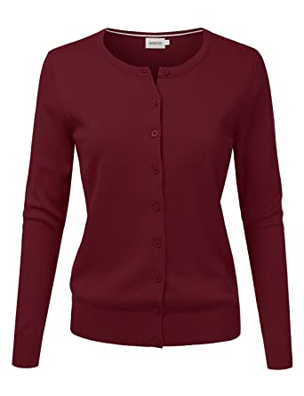 NINEXIS Women s Long Sleeve Button Down Soft Knit Cardigan Sweater Burgundy  S ab98e2de0