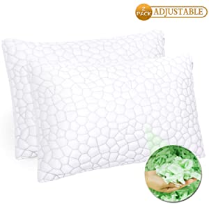 Pillows for Sleeping 2 Pack - Premium Adjustable Loft - Luxury Shredded Memory Foam Pillow with Hypoallergenic Removable Bamboo Derived Rayon Shredded Memory Foam Pillow with Removable Cover - Queen