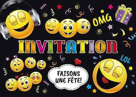 Edition Colibri Invitations Smiley En Français Lot De 10 Cartes D Invitation Rigolotes Smileys émoticônes Pour Un Anniversaire Ou Pour Une