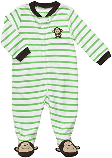 dccc0aff4 Amazon.com: Carters Monkey Stripe Zip Up Sleep & Play GREEN 3 Mo: Infant  And Toddler Bodysuit Footies: Clothing