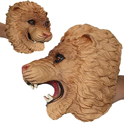 ifkoo Tiger Hand Puppet Soft Cute Realistic Rubber Open Movable Mouth Animal Head Kids Toy (Lion): Toys & Games