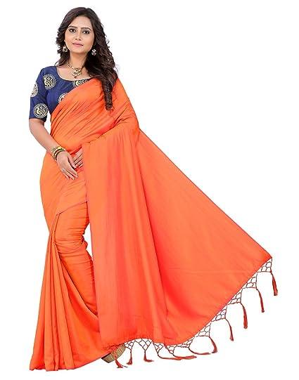 b0e185d5df761 e-VASTRAM Artificial Silk Tassel Saree (Sanao Orange Free Size ...