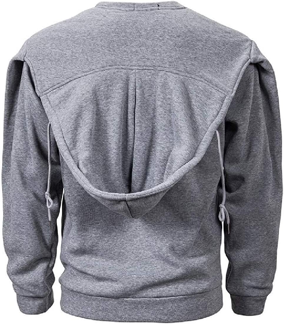 CRYYU Men Casual Plus Size Pullover Hooded Drawstring Hooded Sweatshirt with Pockets