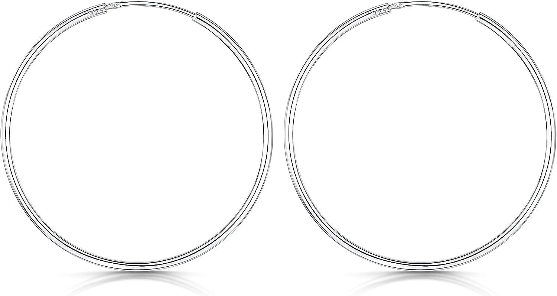 Di/ámetro 20 30 40 60 80 mm Amberta/® 925 Plata De Ley Pendiente De Aro Fino Con Pendientes De Aro Sin Fin Pendientes De Aro Tipo Criolla