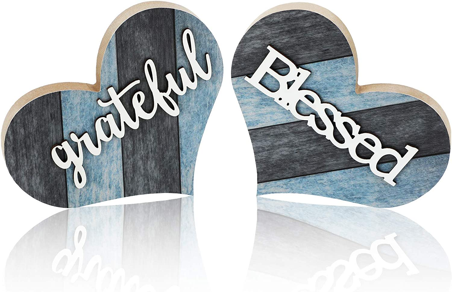 Jetec 2 Pieces Rustic Wooden Sign Heart Shaped Blessed Wooden Sign Grateful Heart Home Decoration Multicolor Wooden Table Centerpiece Home Table Ornaments for Farmhouse Living Room Decor (Blue-Gray)