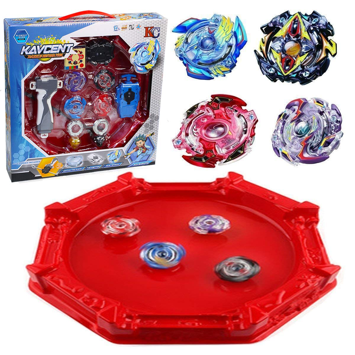 KAVCENT Bey Battle Burst Turbo Evolution Star Storm Battle Set Arena Included with 4D Launcher Grip Set Gyro Burst by KAVCENT