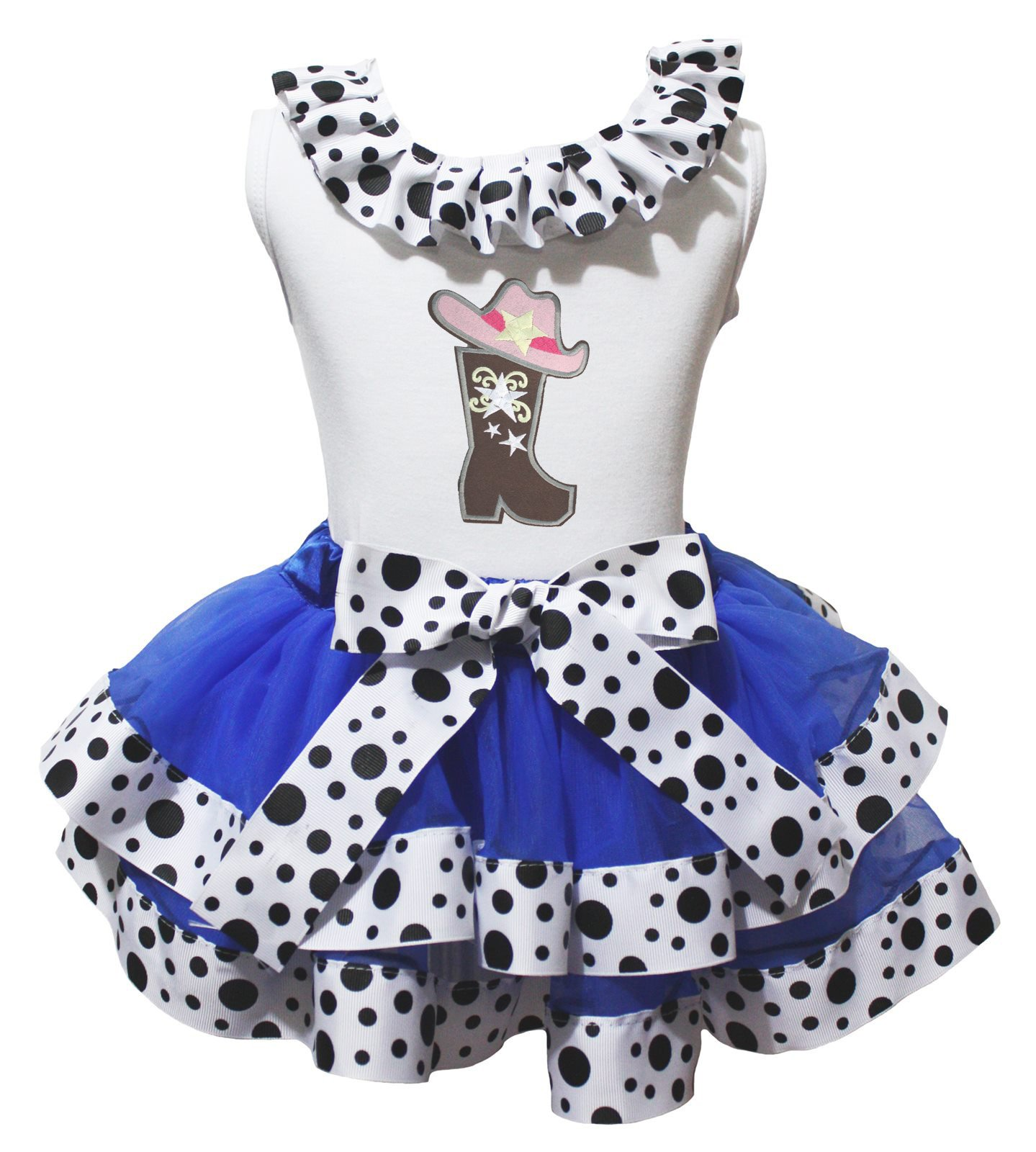 Cow Girl Hat Boot Dress Shirt Blue Milk Cow Ribbon Petal Skirt Outfit Nb-8y (3-12 Months)