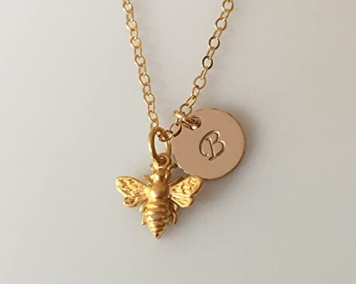 Personalized Gold Bee Initial Necklace, Bridesmaid Necklace, Dainty Minimal Save the Bee Jewelry