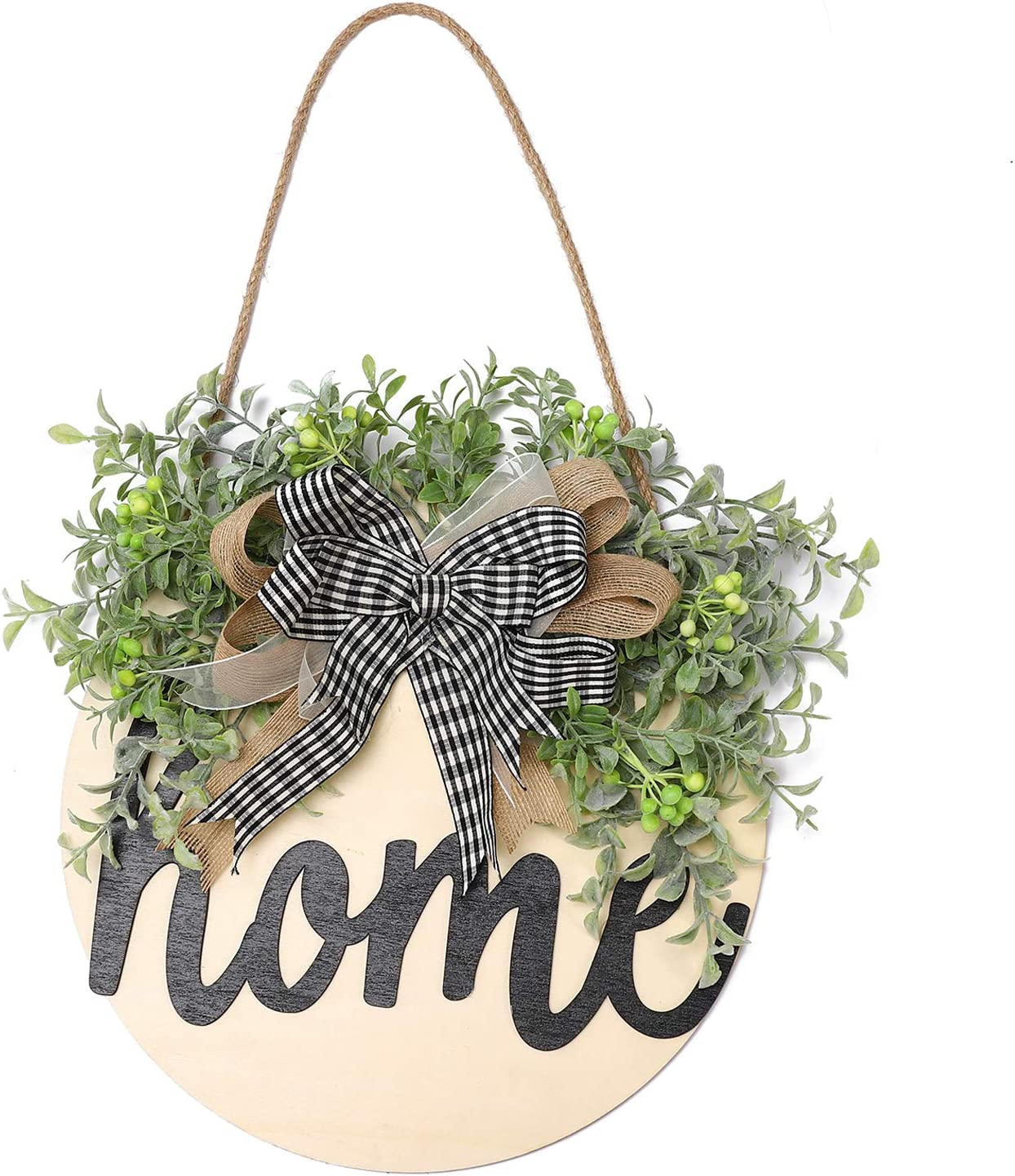 Welcome Sign Home Front Door Round Wood Sign Hanging Welcome Sign for Farmhouse Porch Decoration, Thanksgiving Christmas Decoration (Black Letters Home)