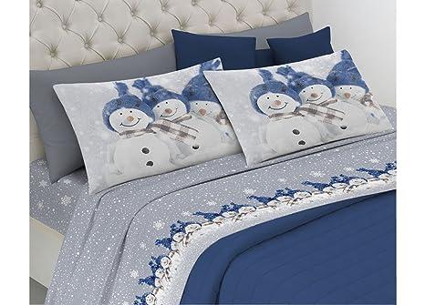 0231de6755 Completo Lenzuola Linea Pensieri Delicati In 100% Cotone Disegno Snowman  Singolo Blu