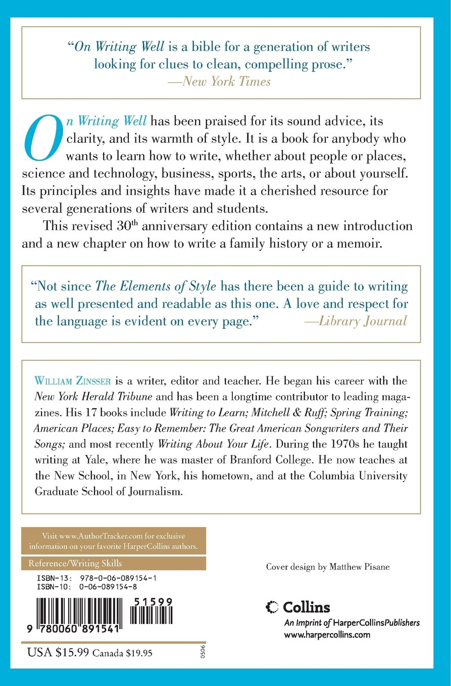 On Writing Well: The Classic Guide to Writing Nonfiction: William Zinsser:  8601300042466: Books - Amazon.ca