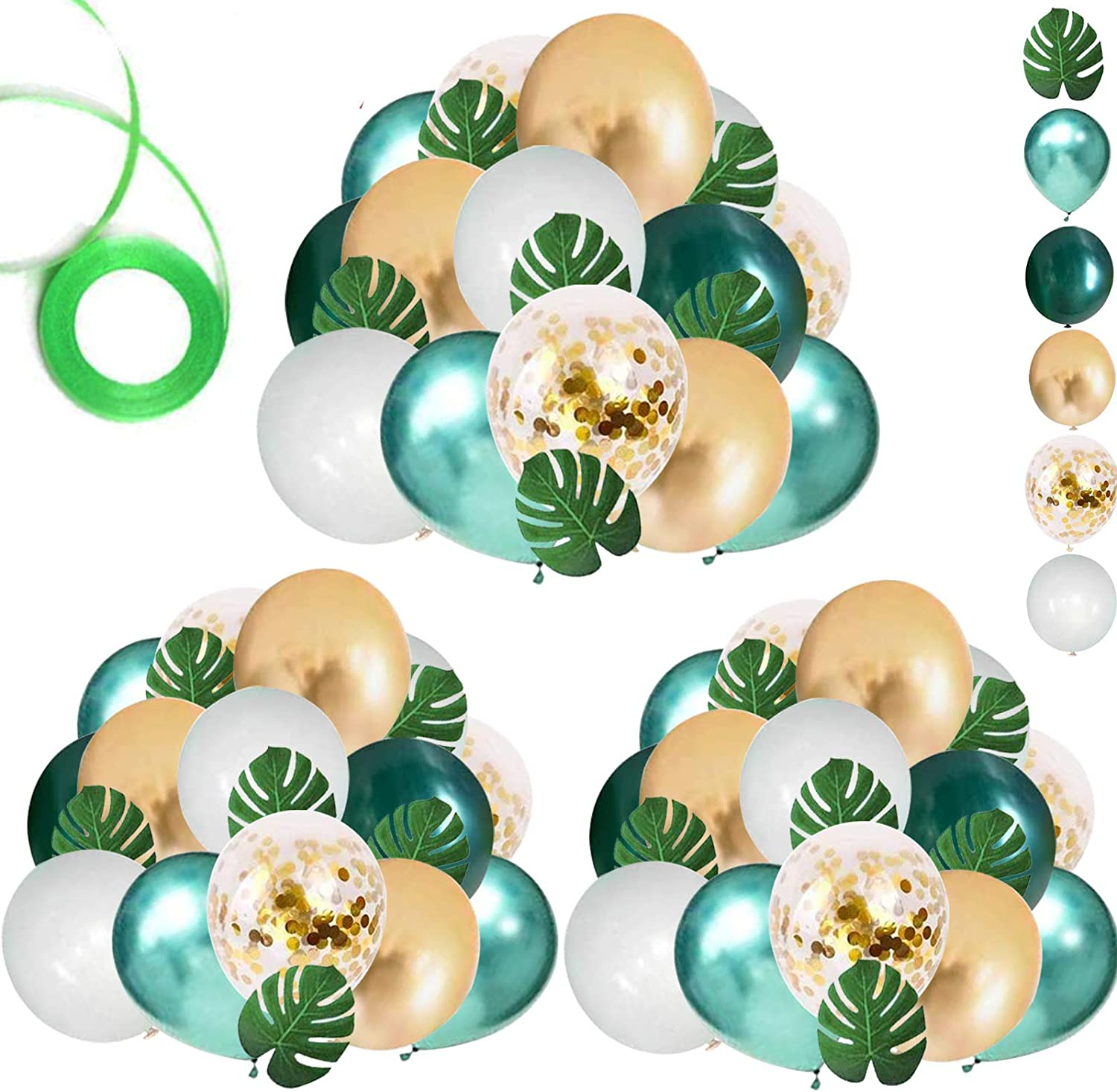 OuMuaMua 68 Pack Jungle Safari Baby Shower Balloons, 12 Inches Green White Gold Confetti Balloons with 12pcs Palm Leaves for Kids Boys Jungle Safari Birthday Baby Shower Decorations