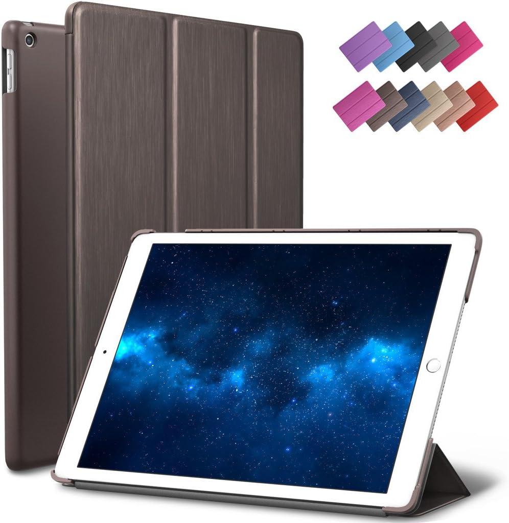 New iPad 9.7-inch 2018 2017 Case, ROARTZ Metallic Brown Slim-Fit Smart Rubber Folio Case Hard Cover Light-Weight Wake Sleep for Apple iPad 5th 6th Generation Retina Model A1893 A1954 A1822 A1823