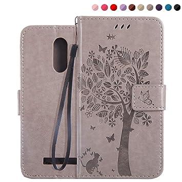 Fatcatparadise Funda Xiaomi Redmi Note 3, (Serie de Gato y árbol) Retro PU Leather de Soporte con Ranura para Tarjetas Flip en Protección De Case para ...