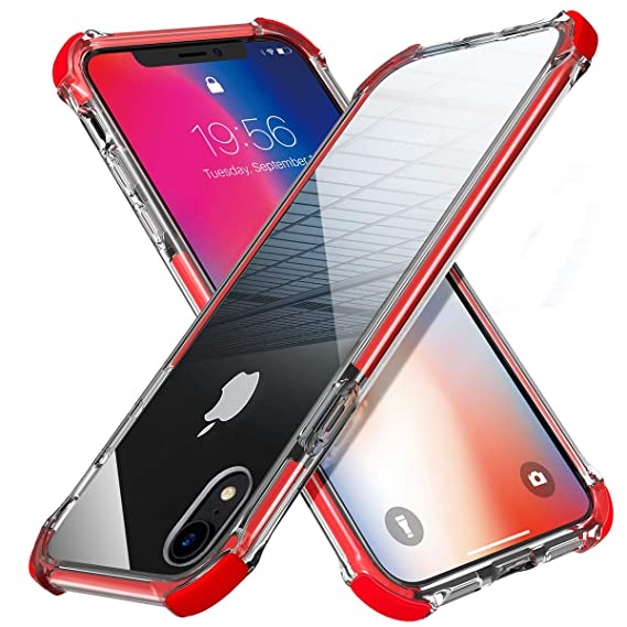 hot sale online 1527c 41ece MATEPROX iPhone XR Case Clear Anti-Yellow Heavy Duty Bumper Protective  Shockproof Case for iPhone XR 6.1''(Red)