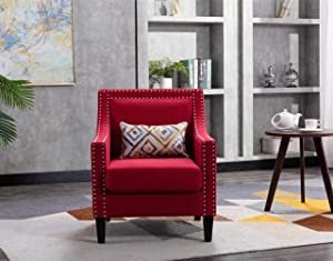 Accent Chair with Small Pillow, Mid Century Armchair with Decorative Nailheads and Solid Wooden Legs, Modern Chairs for Living Room and Bedroom, Red