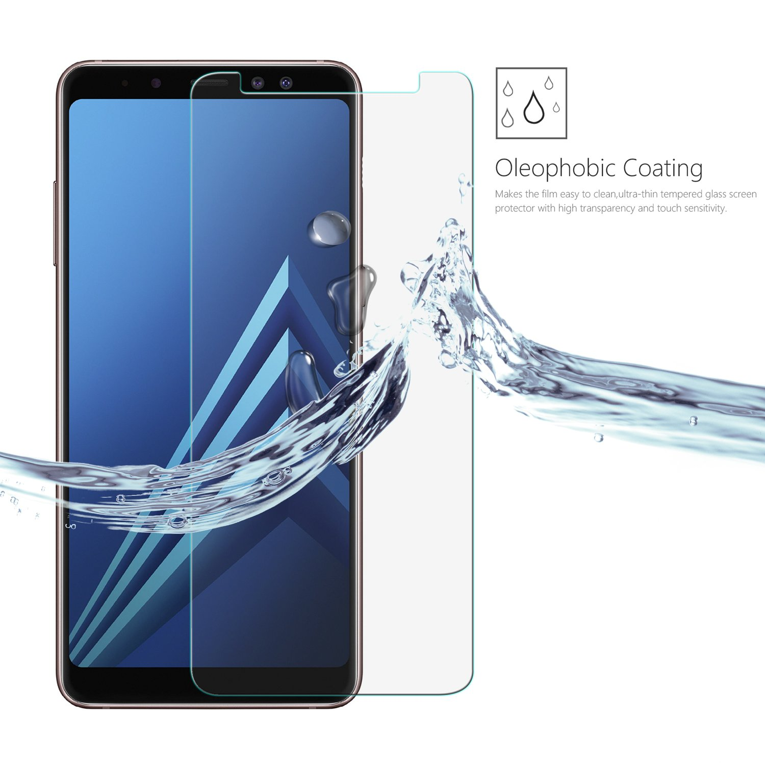 Amazon.com: Samsung Calaxy A8 (2018) Screen Protector, LEATHLUX [2 Pack] Tempered Glass Protective Film [9H Hardness] [2.5D] for Samsung Calaxy A8 (2018): ...