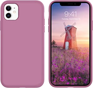 GUAGUA Compatible for iPhone 11 Case Liquid Silicone Soft Gel Rubber Slim Lightweight Microfiber Lining Cushion Texture Cover Shockproof Protective Anti-Scratch Case for iPhone 11 6.1 Inch 2019 Plum