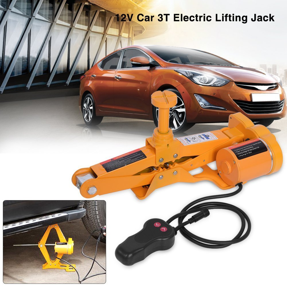 Electric Car Jack-2/3 Ton Automotive Electric Scissor Lifting Jacks SUV Emergency Equipment with Impact Wrench 12V DC RV Floor Jack (3 Ton)