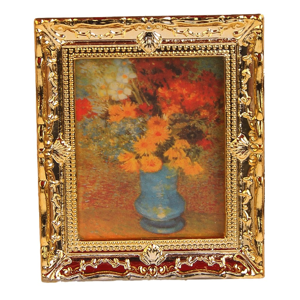 Artyea Golden Plastic Frame Flower Oil Painting 1:12 Miniature Dollhouse Furniture