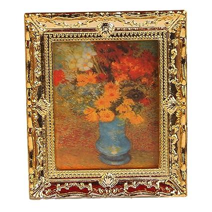 Amazon.com: Lowpricenice Golden Plastic Frame Flower Oil Painting 1 ...