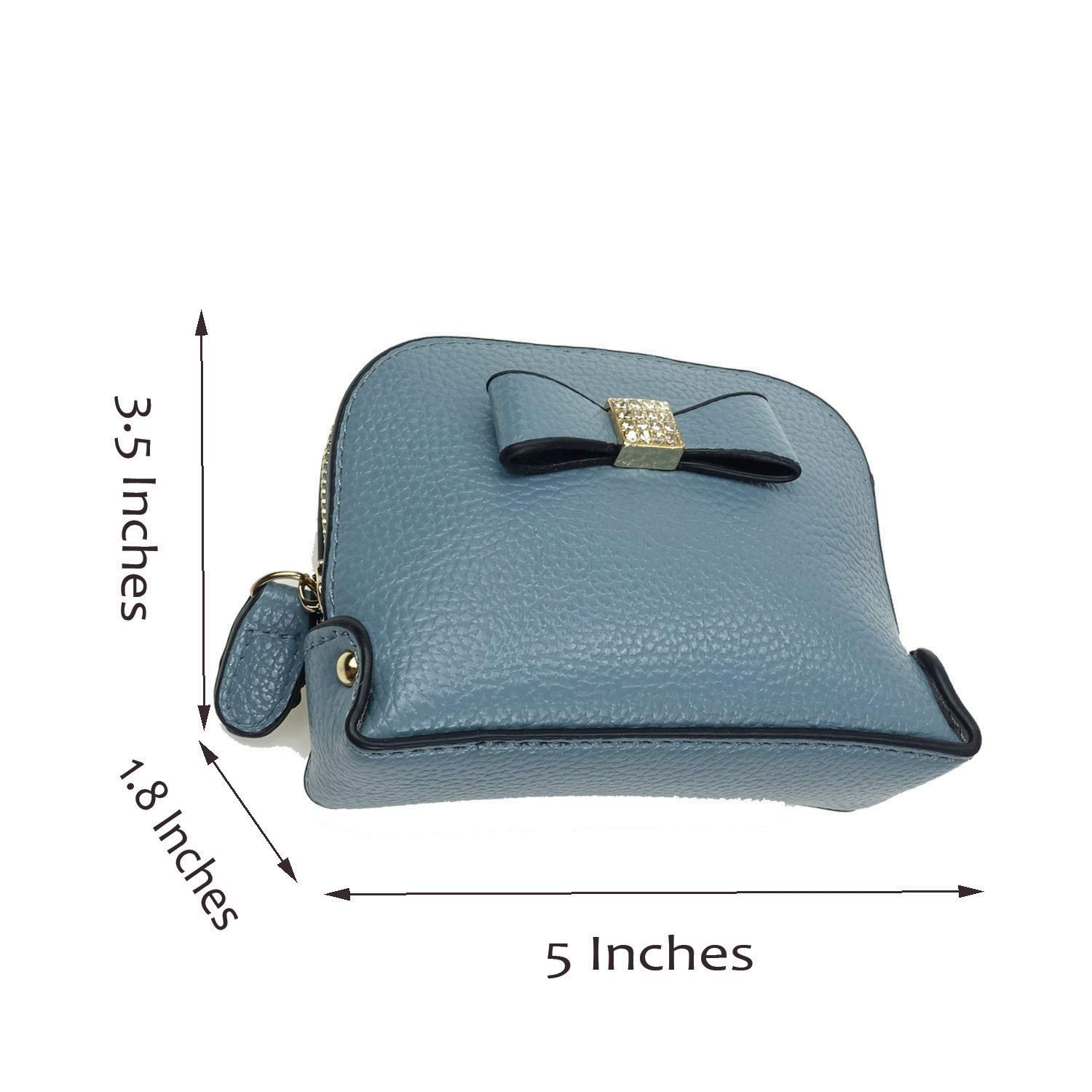 Coin Purse Wallet leather Wristlet Handbags with Wrist Strap Cute Mini Designer Pouch Great Gifts for Women Girls (Bow Blue) by JZE (Image #5)