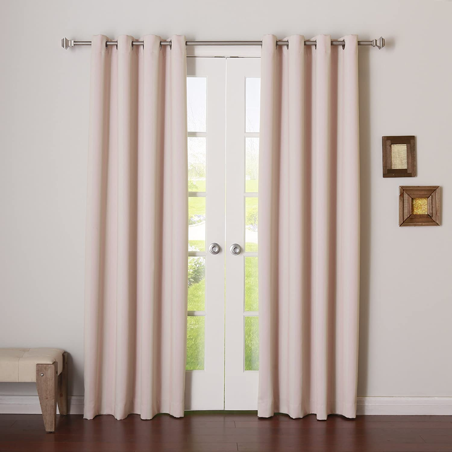 """Best Home Fashion Closeout Room Darkening Vertical Stripe Curtains – Stainless Steel Nickel Grommet Top – Baby Pink – 52"""" W x 96"""" L – (Set of 2 Panels)"""