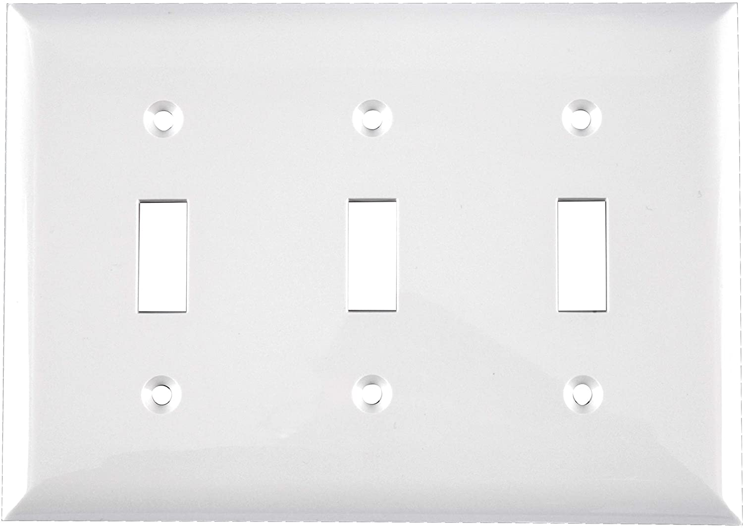 """Power Gear Triple Wall Plate Cover, 3 Gang, Unbreakable Faceplate, 6.5"""" x 4.5"""", Screws Included, White, 50166, Standard Toggle Switch Wallplate"""