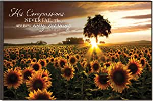 P. Graham Dunn His Compassions Never Fail Sunflower Field 12 x 18 Wood Wall Art Sign Plaque