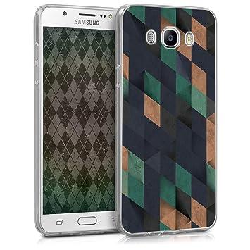 kwmobile Funda para Samsung Galaxy J7 (2016) - Carcasa de [TPU] para móvil con diseño de Mosaico Triangular en Azul Oscuro/petróleo/Beige