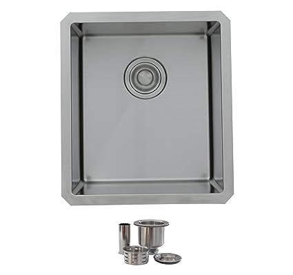 16 Inch Undermount Single Bowl 18 Gauge Kitchen Bar Sink With 10 Radius,  Stainless Steel