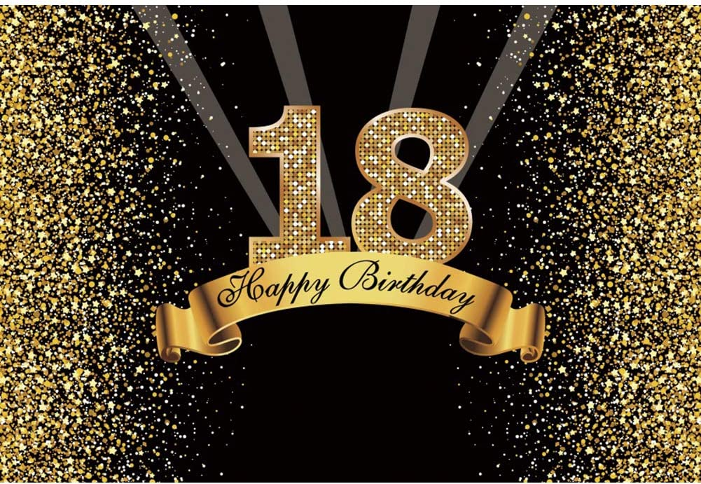 DORCEV 7x5ft Happy 18th Birthday Backdrop for Happy Eighteen Years Old Age Bithday Party Background Shing Glitter Gold Spots Blak and Gold Party Banner Wallpaper Adult Kids Photo Studio Props