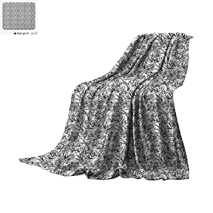 c28c73e10d8 Amazon.com  Black and White Throw Blanket Monochrome Flowers with ...