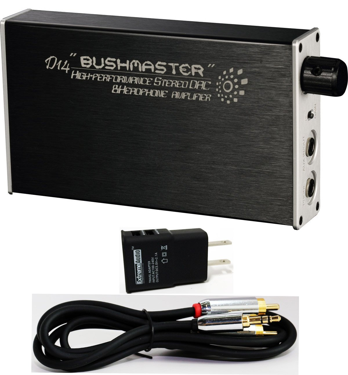 iBasso D14 Bushmaster Portable Headphone Amplifier/DAC with Optical & 3.5mm Stereo to RCA Connection Kit