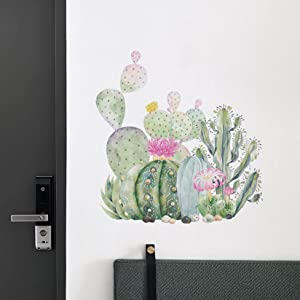 Watercolor Cactus Flowers Wall Corner Decals, Tropical Cactus Nature Green Plants Vinyl Wall Stickers Home Decorations for Living Room, Removable Cacti Stickers for Nursery Kids Rooms Bedroom Decor