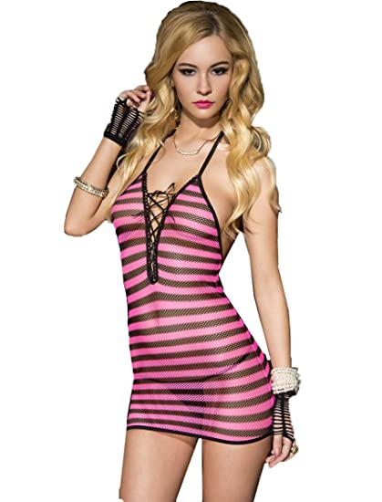 Amazon Music Legs Womens Fishnet Strip Halter Mini Dress Hot