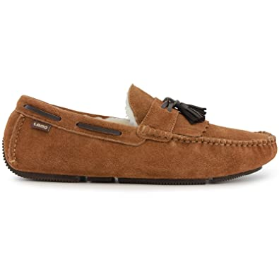 50998d115 Lamo Edwin - Mens Suede Moccasin with Sheepskin - Chestnut - 8