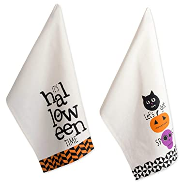 DII 100% Cotton 18x28 Halloween Holiday Dish Towels Set of 3-All Hallows Eve, Set of 2, All