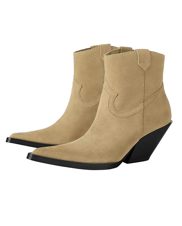 Zara Damen Lederstiefelette mit mit mit cowboyabsatz 3105 001 a77cf9