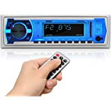 Pyle Marine Bluetooth Stereo Radio - 12v Single DIN Style Boat In dash Radio Receiver System with Built-in Mic, Digital LCD,