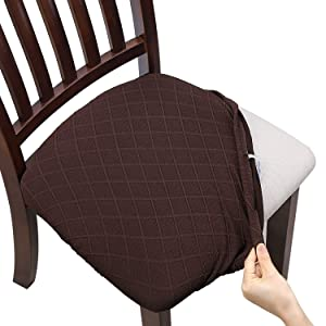 Fuloon Stretch Jacquard Chair Seat Covers,Removable Washable Anti-Dust Dinning Room Chair Seat Cushion Slipcovers (6, Chocolate)