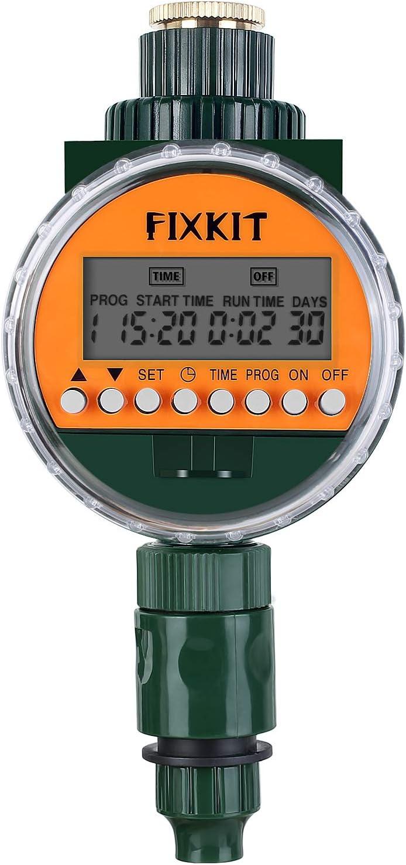 Temporizador de Riego FIXKIT Nuevo Temporizador de Riego con Sensor de Lluvia Temporizador Electrónico de Agua, Pantalla LCD, Cubierta Impermeable IP67, Función de Memoria Permanente