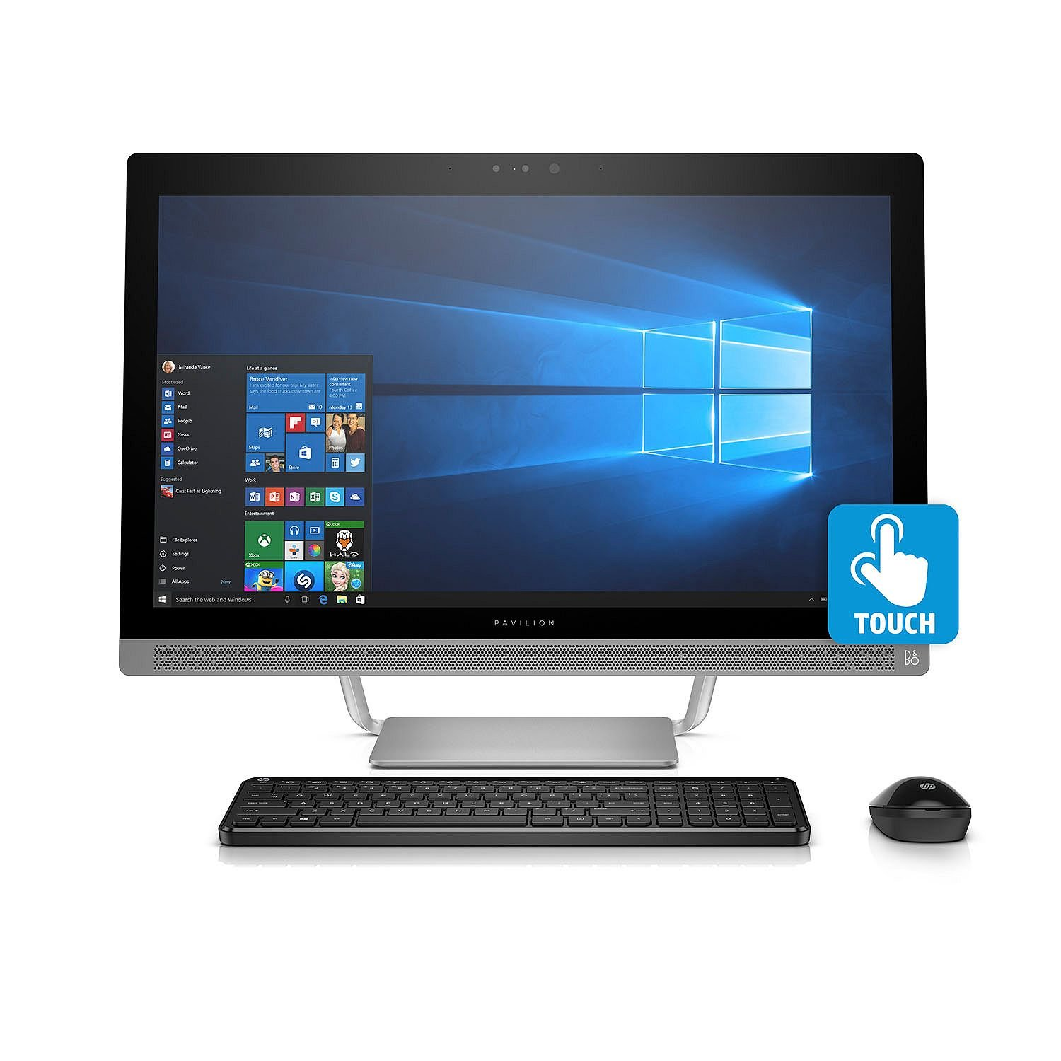 HP Pavilion FHD IPS 24'' Touchscreen All-in-One Desktop, Quad Core Intel i7-7700T 3.8 GHz, 8GB DDR4 RAM, 1TB 7200RPM HDD, Dedicated Graphics 2GB GDDR5, DVD, BT, B&O PLAY, 802.11AC, Wireless Combo-Win10 by HP