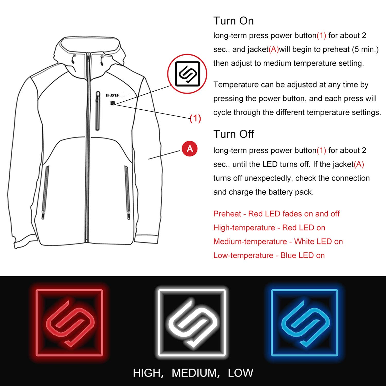 IHAYNER Mens Soft Shell Heated Jacket with Battery Pack and Hood Dual-Zipper Multi-Pockets Waterproof Warm Winter Jackets M