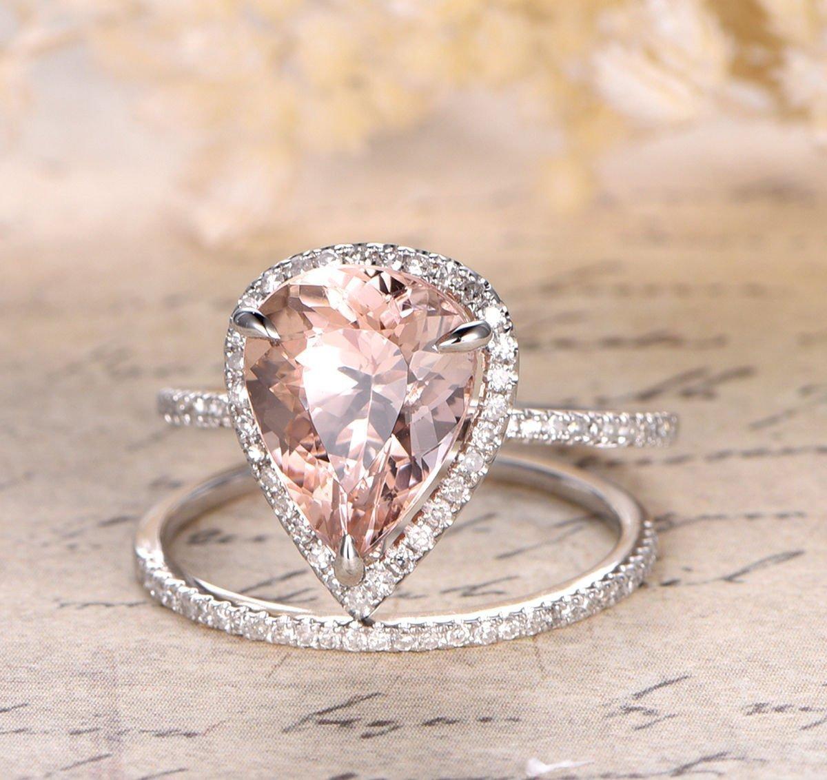 Pear Morganite Engagement Ring Bridal Set Pave Diamond Wedding 14K White Gold 10x12mm