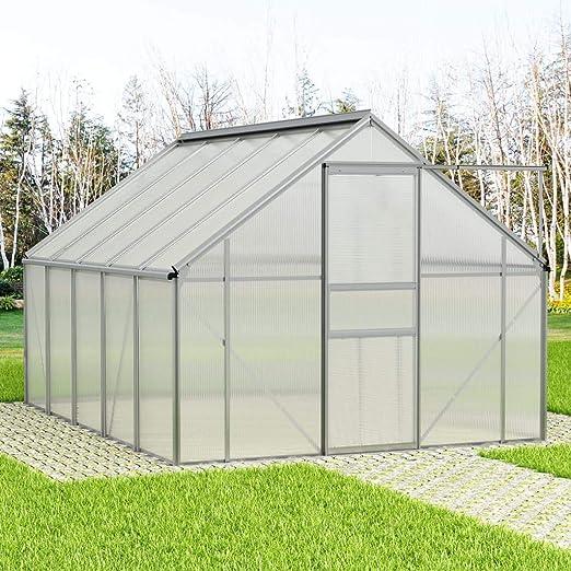 Tidyard Invernadero de Aluminio 15,1 m³ con una Gran Puerta corredera 250 x 310 x 195 cm: Amazon.es: Hogar