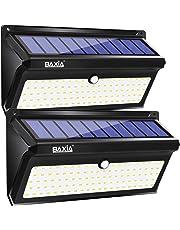 BAXiA 2000LM Luz Solar Jardin, 2400mAh Luces Solares Exterior con Resistencia al agua IP65, Foco Solar Exterior con Sensor de Movimiento para Jardín Porche Calzada Patio (100 LED, 2 Piezas)